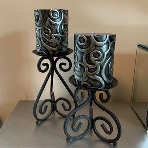 Set of 2 Hobby Lobby Candles & Candle Holders